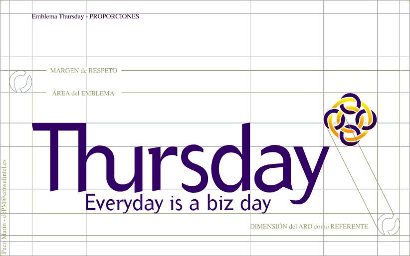 symp: identidad corporativa para comunidad de negocios 'Thursday Internet'. Relación de proporciones entre los elementos del emblema.