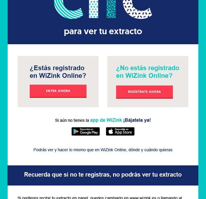 WiZink Bank :: Campaña disponibilidad de extracto electrónico