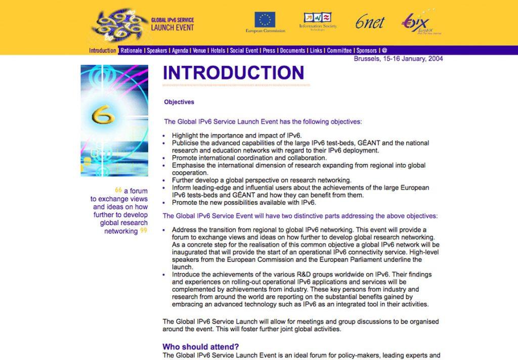 Diseño web de symp para Global IPv6 Service Launch Event