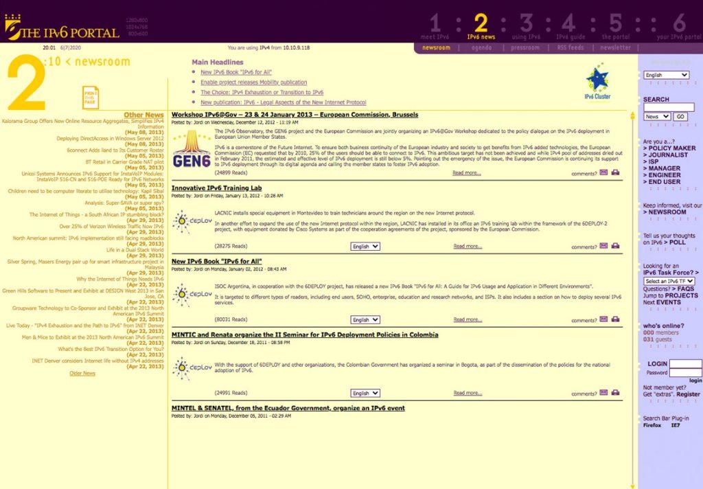 Diseño web de symp para The IPv6 Portal