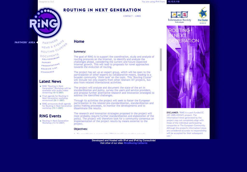 Diseño web de symp para RiNG