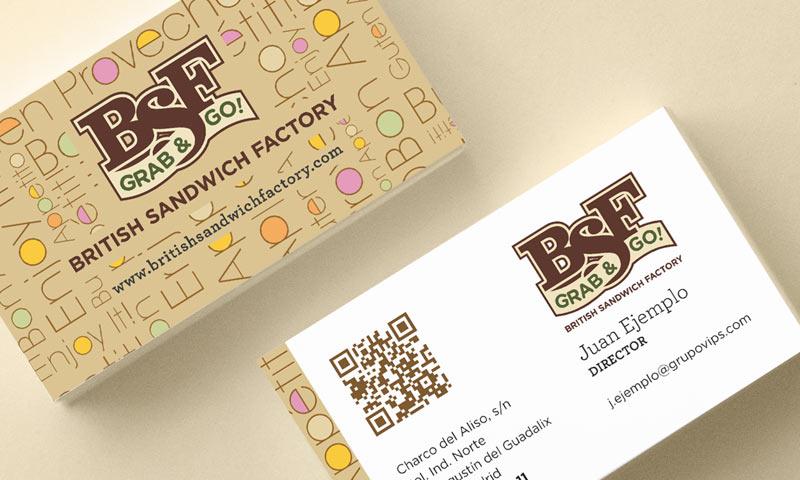 symp: Tarjeta comercial de British Sandwich Factory, BSF