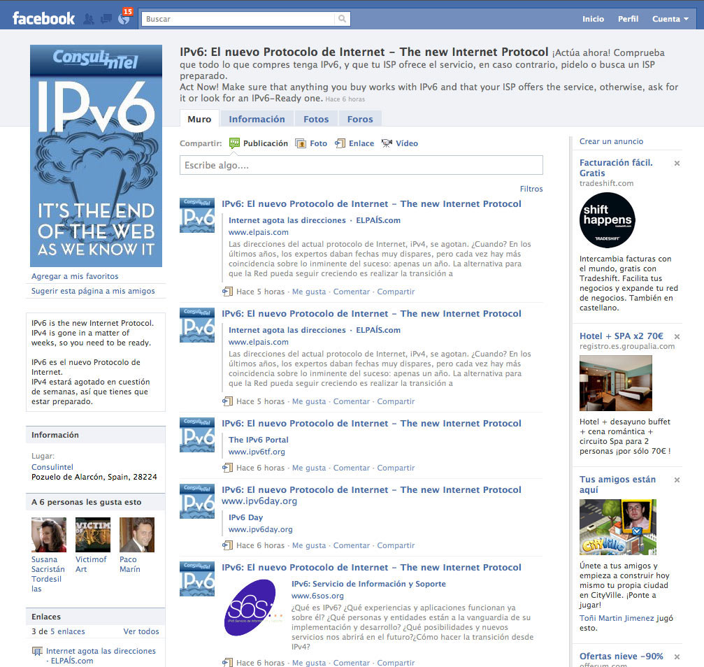 Página de Facebook para The IPv6 Company