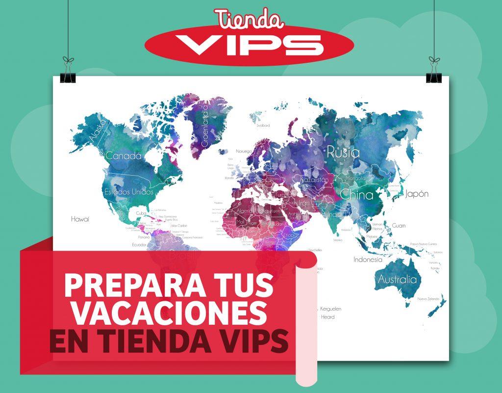 symp: banner promocional mapamundi vacaciones para VIPS Tienda