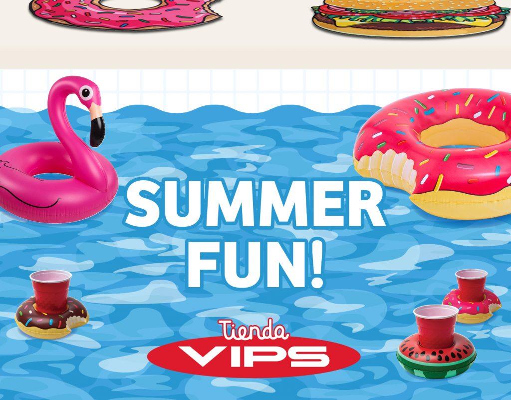 symp: banner promocional flotadores bebidas para VIPS Tienda