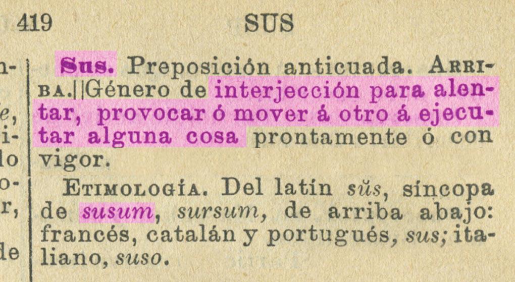 Sus: entrada del Diccionario General Etimológico de la Lengua Española, de Eduardo Echegaray. 1898. página 419, tomo V.