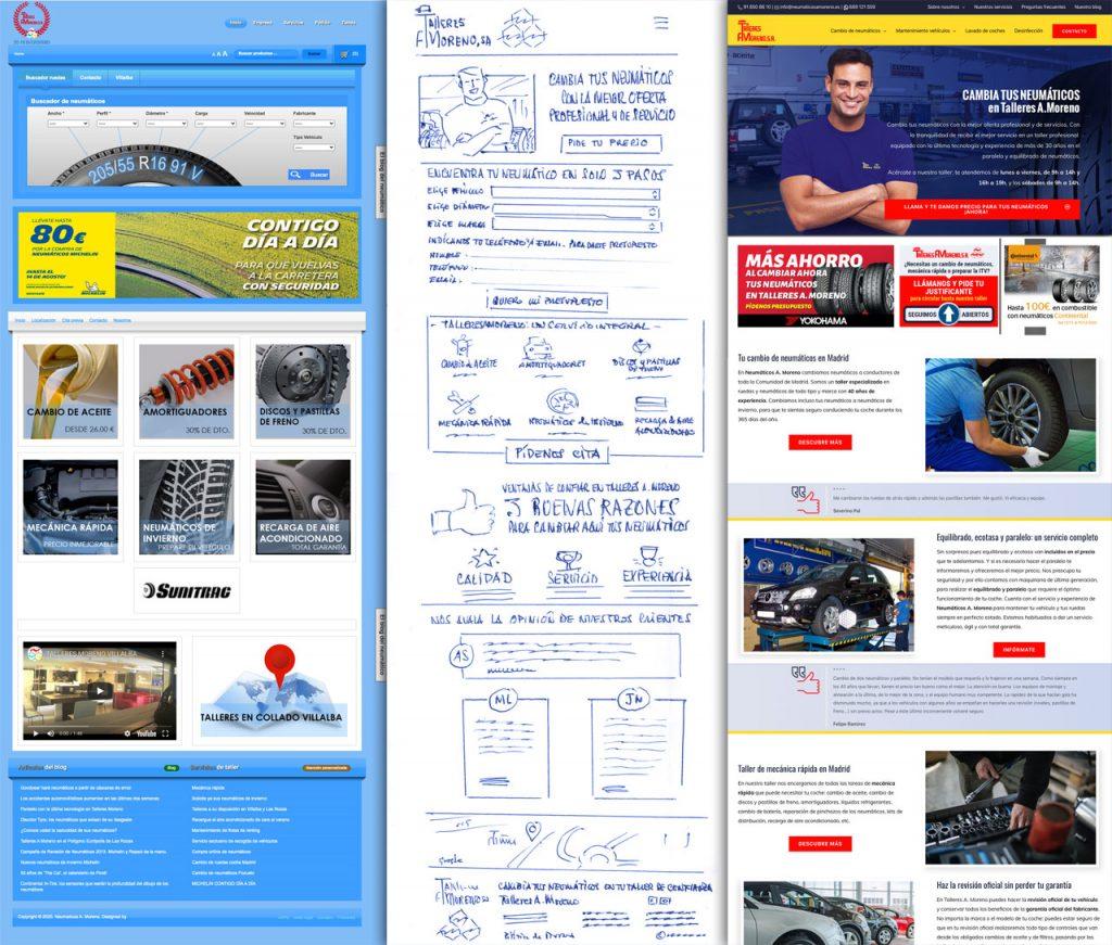 Talleres A. Moreno. Creación y diseño web neumaticosamoreno. Web original, prototipado y diseño de nueva web.