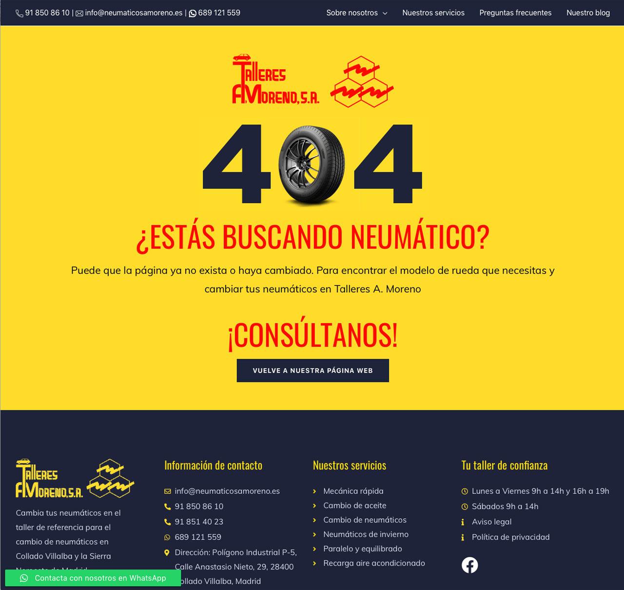 Talleres A. Moreno. Creación y diseño web neumaticosamoreno. Página Error 404.