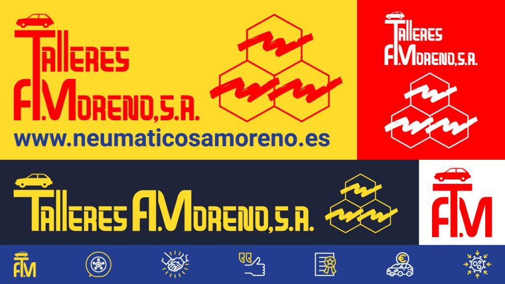 Talleres A. Moreno. Creación y diseño web neumaticosamoreno. Aplicaciones del logotipo de Talleres A. Moreno una vez redibujado, carta de colores y muestras de pictogramas.