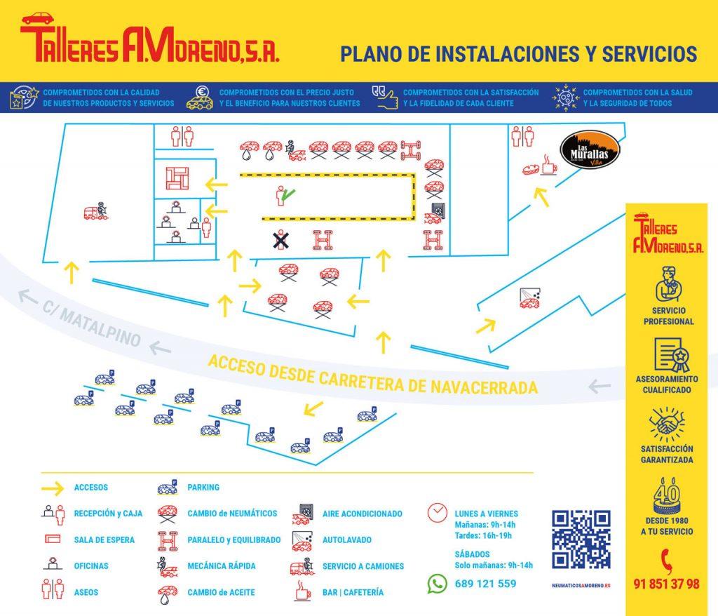 Talleres A. Moreno. Creación y diseño web neumaticosamoreno. Plano de accesos, instalaciones, compromisos y servicios de valor añadido.