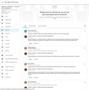 Talleres A. Moreno. Creación y diseño web neumaticosamoreno. Página de gestión de reseñas de Google My Business.