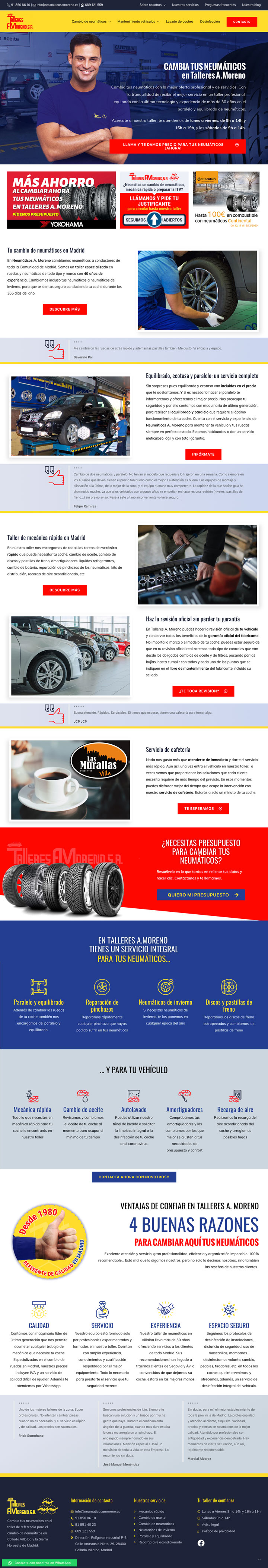 Talleres A. Moreno. Creación y diseño web neumaticosamoreno. Pagina de inicio del sitio web.