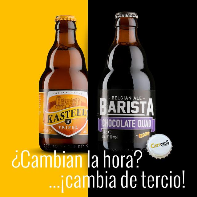 CervezuS. Blog posts para Kasteel Barista Chocolate Quad y Kasteel Tripelcon motivo del cambio de hora