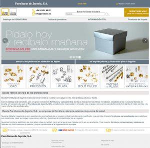 Fornituras de Joyería. Catálogo web: Prototipos de páginas web