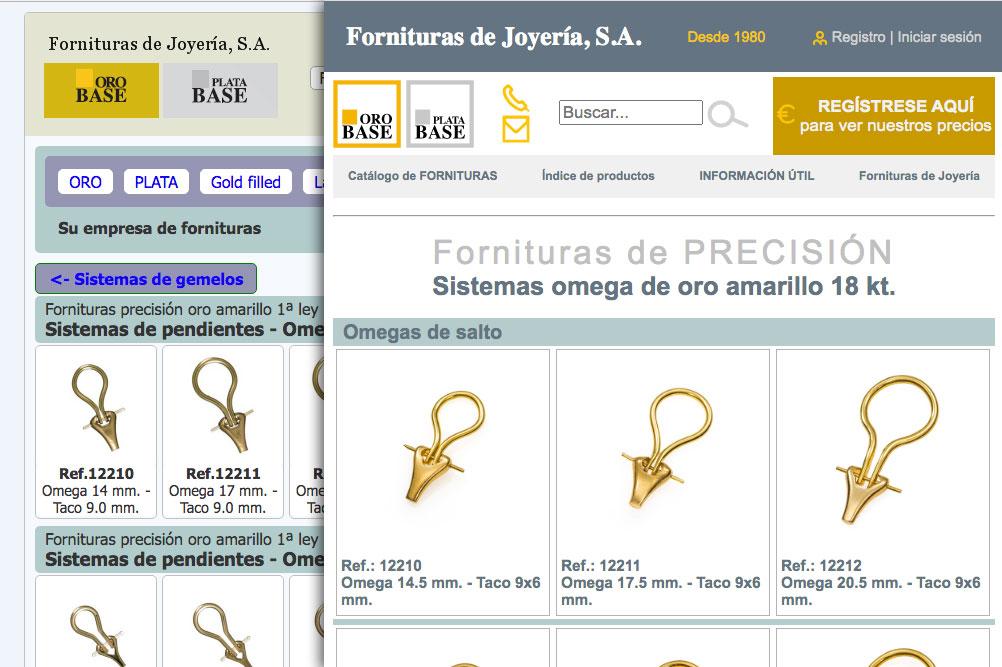 Fornituras de Joyería. Catálogo wComparativa de logotipos Oro Base y Plata Base antes y despues del rediseño