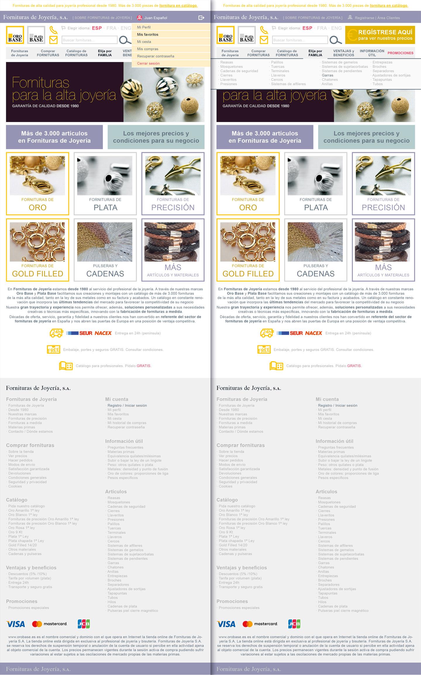 Fornituras de Joyería. Catálogo web: prototipado diseños web formato tablet