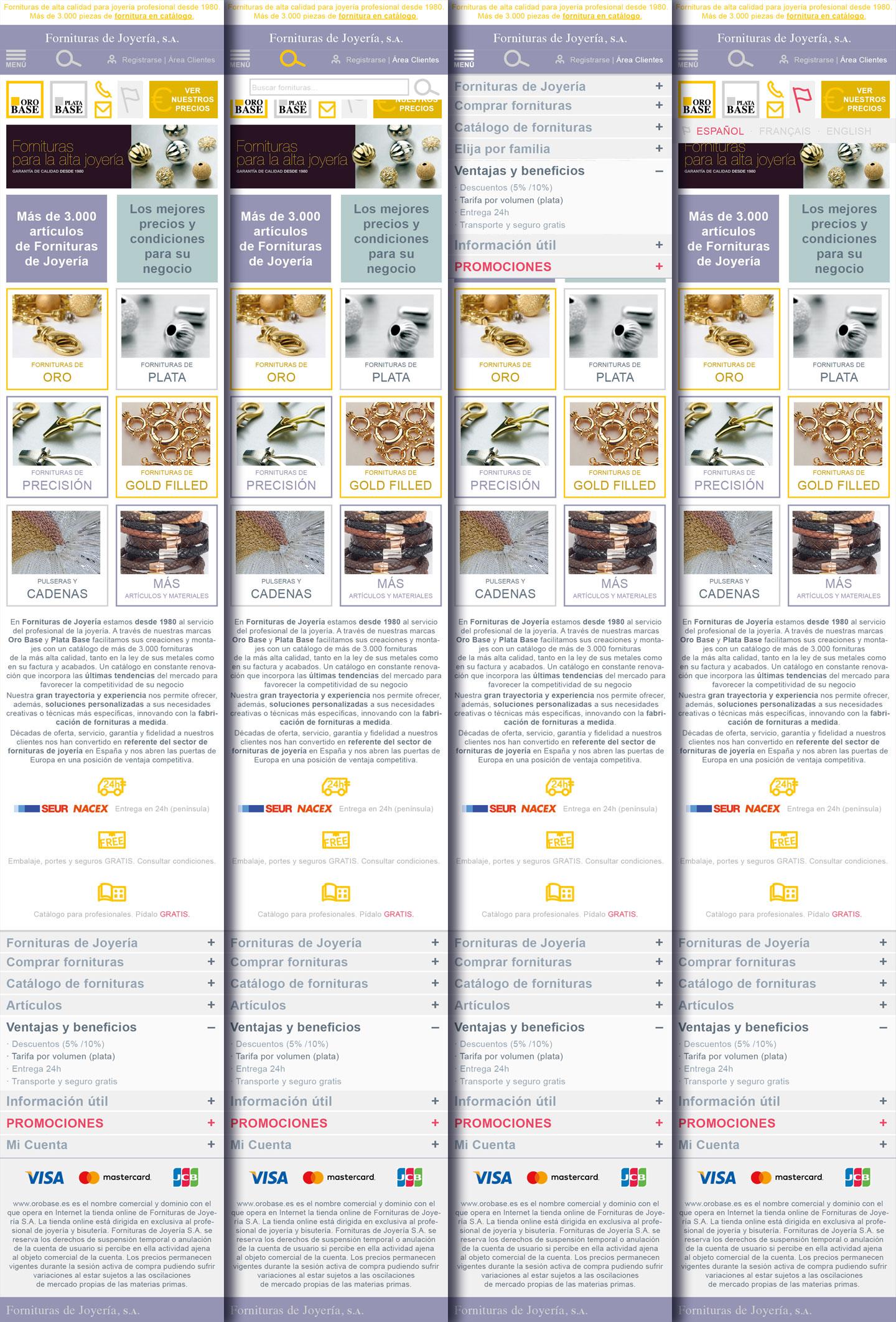 Fornituras de Joyería. Catálogo web: prototipado diseños web formato responsive para móvil