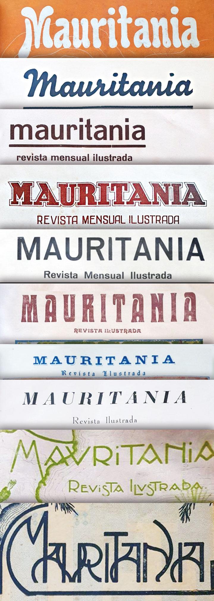 Tipografías de las cabeceras de la Revista Mauritania