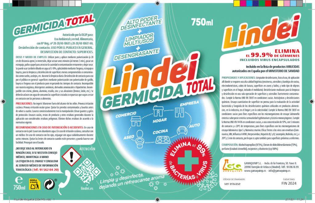 Arte final de etiquetado para Lindei Germicida Total, el virucida multiusos