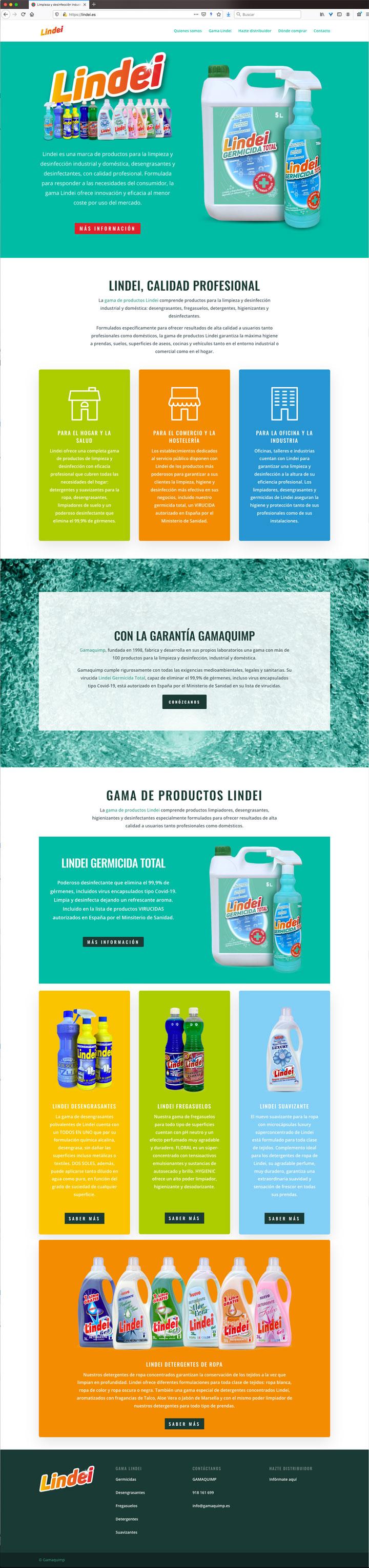 symp para Gamaquimp. Packaging Lindei y diseño web Lindei germicida total. Diseño de marca, etiquetado de envases y landing page en WordPress para virucida y desinfectante multiusos.