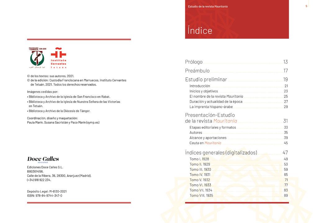 """symp: páginas de índices en la maquetación del libro """"Revista Mauritania"""""""