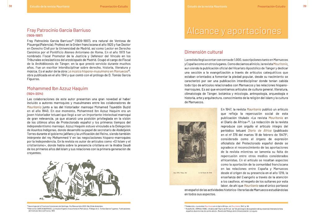 """symp: páginas de texto en la maquetación del libro """"Revista Mauritania"""""""