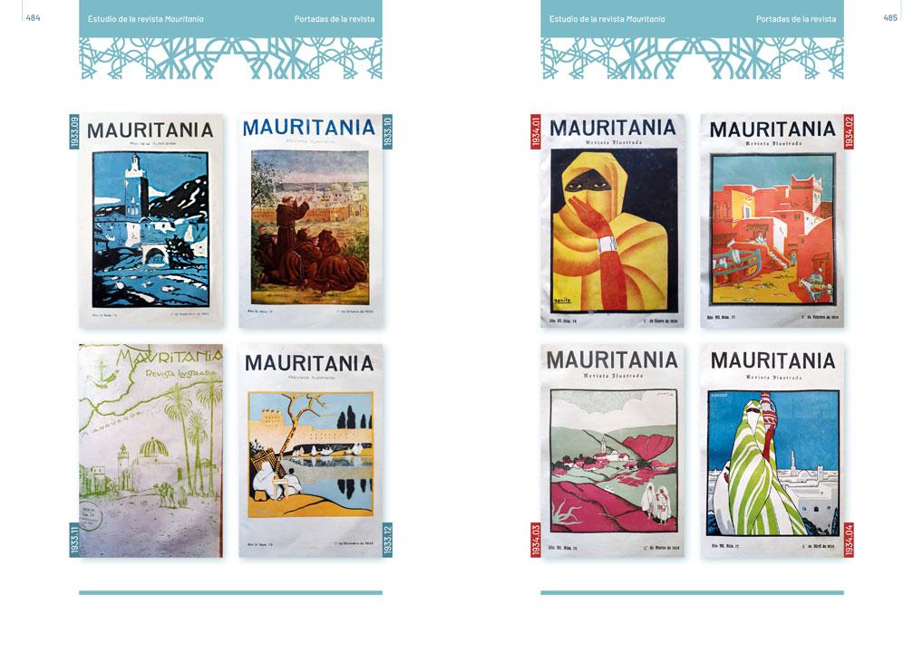 """symp: páginas de portadas en la maquetación del libro """"Revista Mauritania"""""""