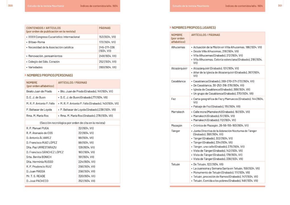 """symp: páginas de tablas en la maquetación del libro """"Revista Mauritania"""